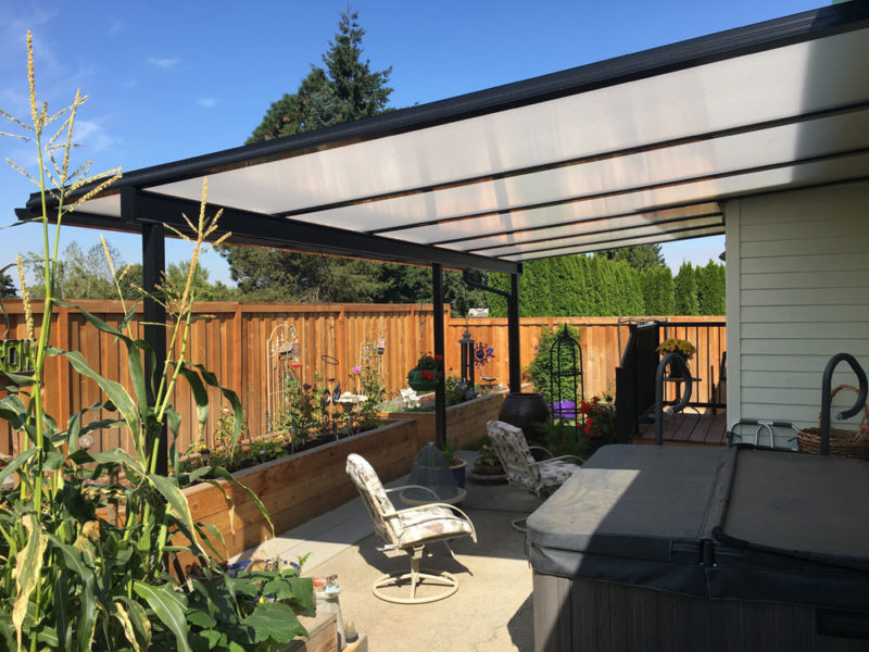 Etonnant Black Aluminum Patio Cover And Railing, Cool Blue Heat Stop Acrylic Roof  Panels, Standard