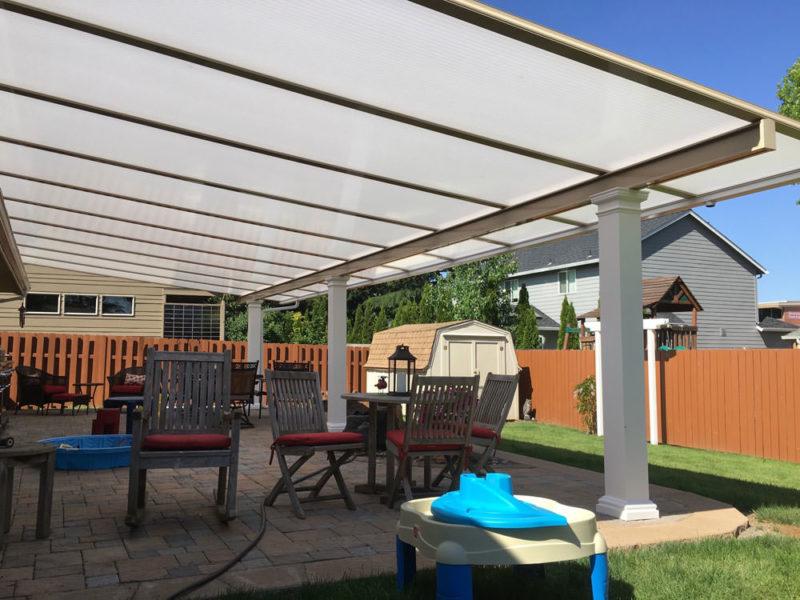 Beige Aluminum Frame with Cool Blue Heatstop Roof