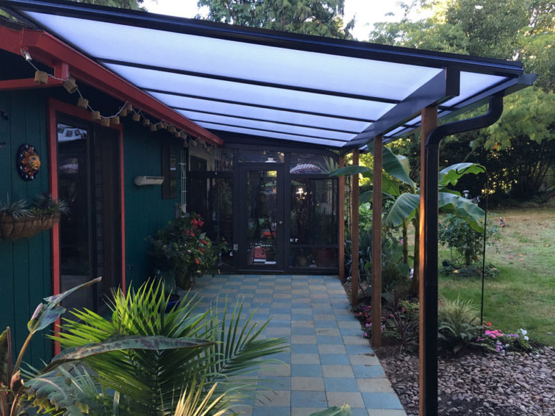 Black Aluminum Frame Patio Cover, Cool Blue Heat Stop Acrylic Roof Panels,  4x4 Pressure